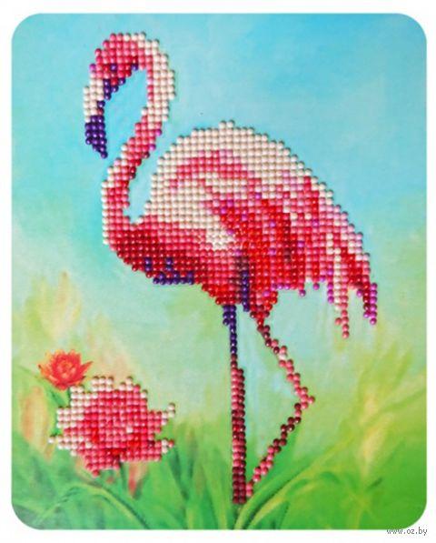 "Алмазная вышивка-мозаика ""Розовый фламинго"" (170х210 мм) — фото, картинка"