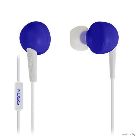 Наушники с микрофоном KOSS KEB6i B (синие) — фото, картинка