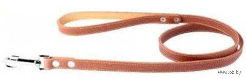 Поводок из натуральной кожи одинарный непрошитый (120х1,6 см; коричневый) — фото, картинка