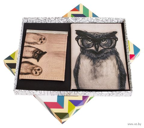 """Подарочный набор """"Сова"""" (обложка на паспорт и зажим для денег) — фото, картинка"""