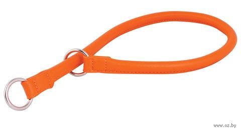 """Ошейник-удавка из натуральной кожи рывковый """"Glamour"""" (55х1,3 см; оранжевый) — фото, картинка"""
