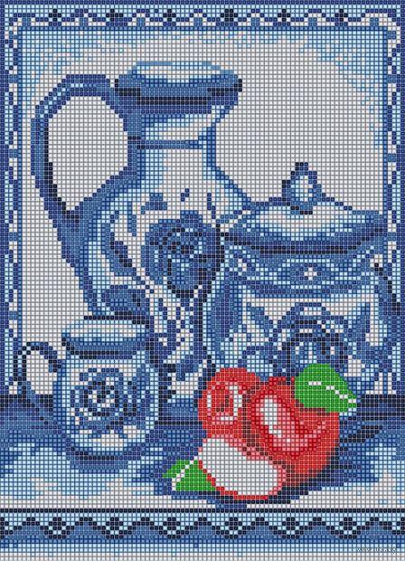"Алмазная вышивка-мозаика ""Гжель"" (360х260 мм; арт. БСА3-089) — фото, картинка"