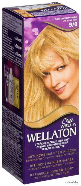 """Крем-краска для волос """"Wellaton. Интенсивная"""" (тон: 9/0, очень светлый блондин) — фото, картинка"""