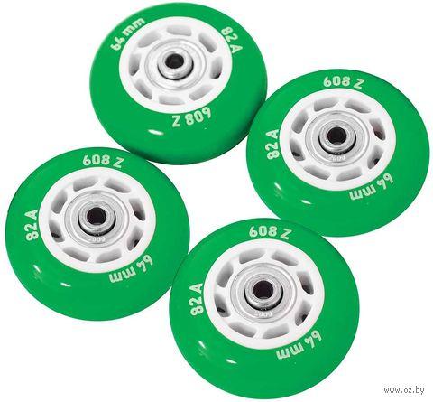 Набор светящихся колес для роликов (4 шт.; ABEC-5; зелёный) — фото, картинка
