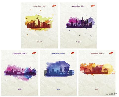"Тетрадь в клетку ""Watercolour Cities"" 48 листов"