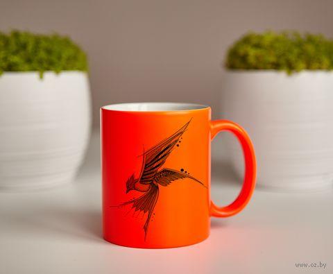 "Кружка ""Птица"" (оранжевая) — фото, картинка"