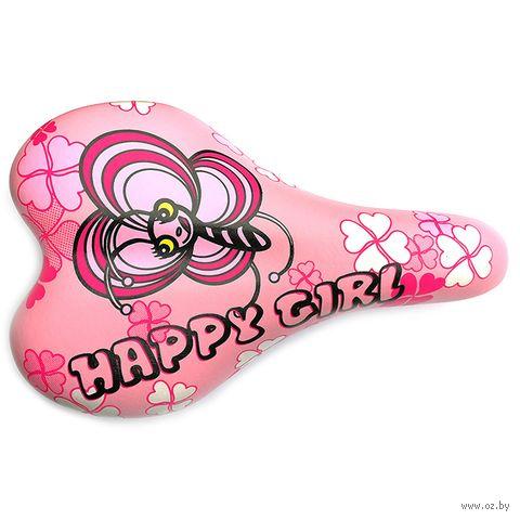"Седло для велосипеда ""1217A. Happy Girl"" (розовое) — фото, картинка"