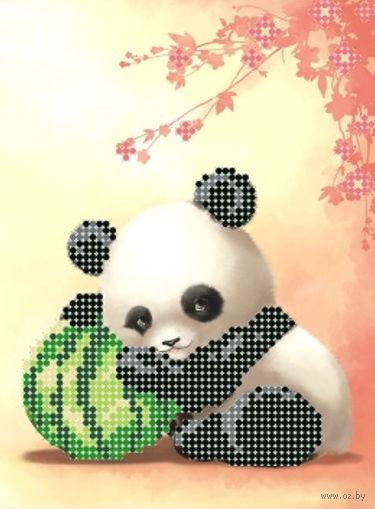 "Вышивка бисером ""Панда и арбуз"" (120х160 мм) — фото, картинка"