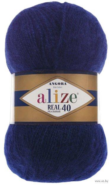 "Пряжа ""ALIZE. Angora Real 40 №58"" (100 г; 480 м; темно-синий) — фото, картинка"
