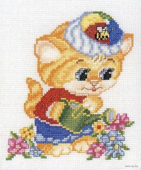 """Вышивка крестом """"Котенок и цветы"""""""