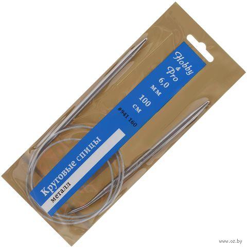 Спицы круговые для вязания (металл; 6 мм; 100 см) — фото, картинка