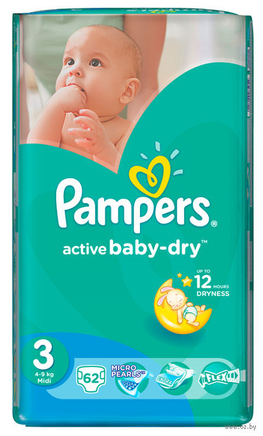 "Подгузники ""Pampers Active Baby-Dry Midi"" (4-9 кг, 62 шт, арт. 8255)"