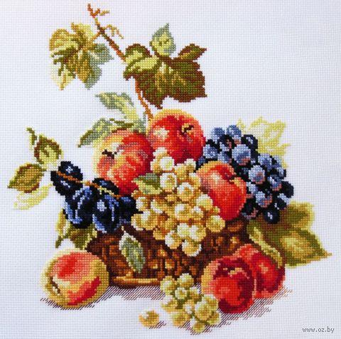 "Вышивка крестом ""Яблоки и виноград"" (250х250 мм) — фото, картинка"