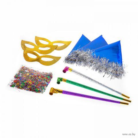 Набор для праздника (3 маски, 3 язычка, 3 колпака, конфетти)