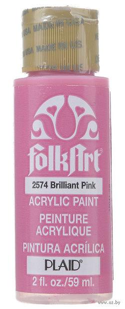 "Краска акриловая ""FolkArt. Acrylic Paint"" (блистающий розовый; 59 мл; арт. PLD-02574) — фото, картинка"