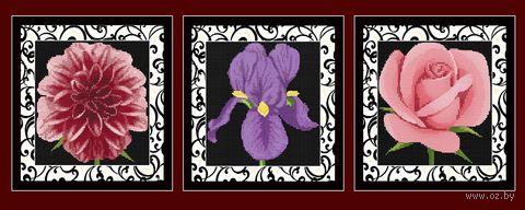 "Алмазная вышивка-мозаика ""Цветы"" (900х350 мм; 3 шт.) — фото, картинка"
