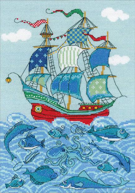 """Вышивка крестом """"Парусник Удача"""" (арт. 1465)"""