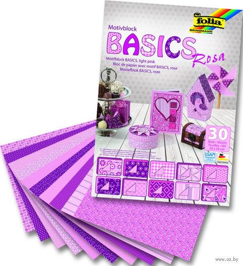 """Набор дизайнерского картона """"Базовый розовый"""" (240х340 мм; 30 листов)"""
