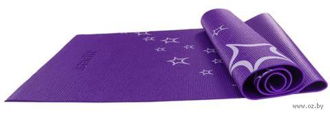 Коврик для йоги FM-102 (173x61x0,5 см; фиолетовый с рисунком) — фото, картинка