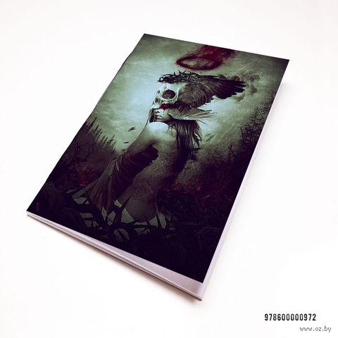"""Блокнот белый """"Девушка с черепом"""" А7 (972)"""