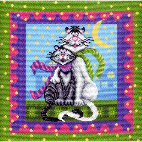 """Канва с нанесенным рисунком """"Кот и кошка"""""""