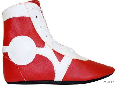 Обувь для самбо SM-0102 (р. 40; кожа; красная) — фото, картинка
