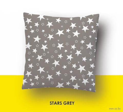 """Наволочка хлопковая """"Stars Grey"""" (50x70 см) — фото, картинка"""