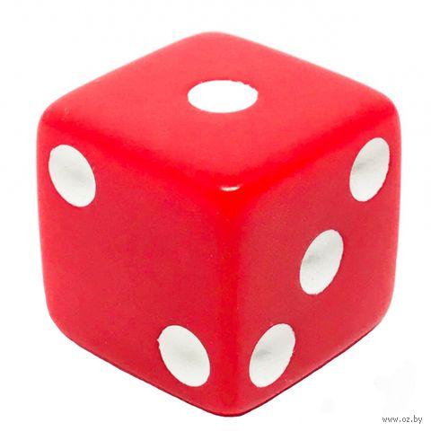 """Кубик D6 """"Простой"""" (16 мм; красно-белый) — фото, картинка"""