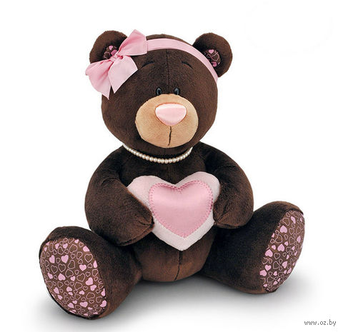"""Мягкая игрушка """"Медведь Milk с сердцем"""" (20 см)"""