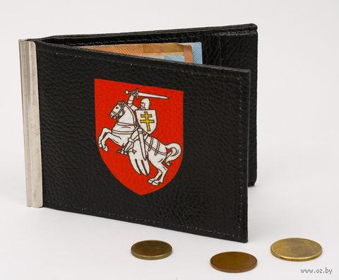 """Зажим для денег с монетницей """"Пагоня"""" (черный, арт. MZ020) — фото, картинка"""