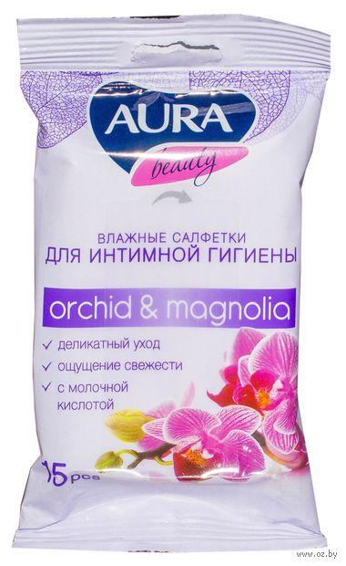 """Влажные салфетки для интимной гигиены """"Aura"""" (15 шт.) — фото, картинка"""