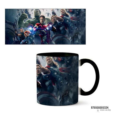 """Кружка """"Мстители из вселенной MARVEL"""" (черная; арт. 324) — фото, картинка"""