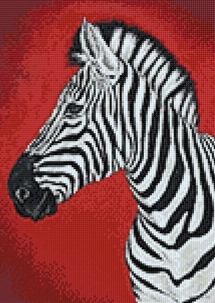 "Алмазная вышивка-мозаика ""Зебра"" (270х380 мм) — фото, картинка"