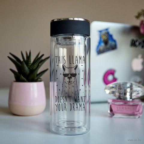 """Бутылка для чая """"Эта лама не нуждается в драме"""" — фото, картинка"""