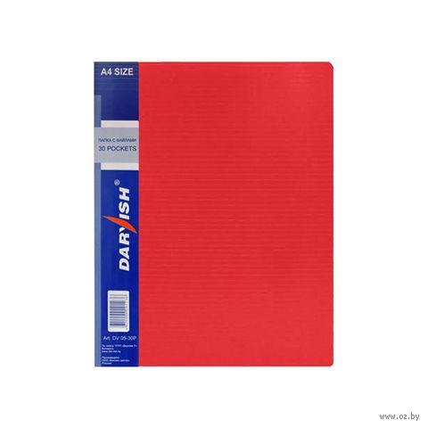 """Папка """"Darvish"""" с прозрачными файлами DV05-30Р (А4; 30 листов; цвет: красный)"""