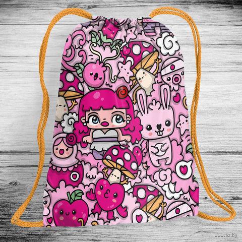 """Рюкзак-мешок """"Розовые комиксы"""" (арт. 6) — фото, картинка"""