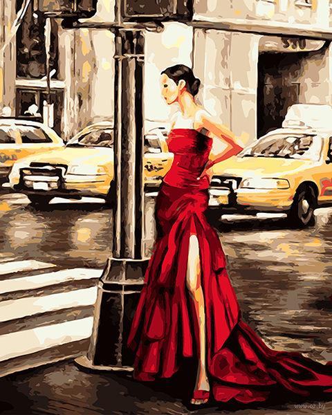 "Картина по номерам ""Девушка в красном"" (400х500 мм; арт. PC4050134) — фото, картинка"