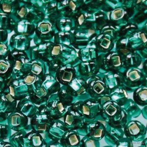 Бисер прозрачный с серебристым центром №57710 (изумрудный; 10/0)