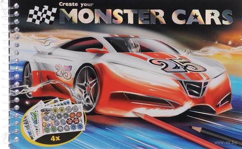раскраска раскраска Create Your Monster Cars наклейки