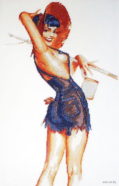 "Вышивка крестом ""Девушка в шортах"" (280х420 мм) — фото, картинка"