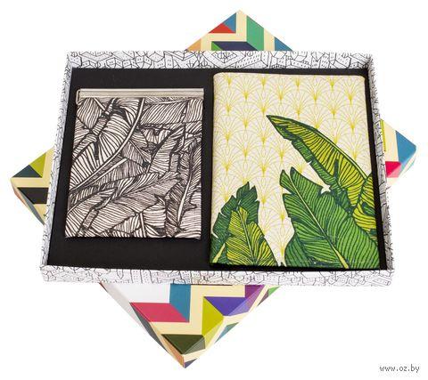 """Подарочный набор """"Листья"""" (обложка на паспорт и зажим для денег) — фото, картинка"""