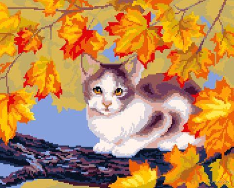 "Вышивка крестом ""Осенний кот"" (420x300 мм) — фото, картинка"