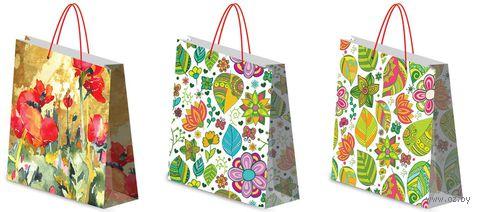 """Пакет бумажный подарочный """"Цветы"""" (в ассортименте; 28х34х9 см; арт. ZLEP-UG1-2834-GLOS)"""