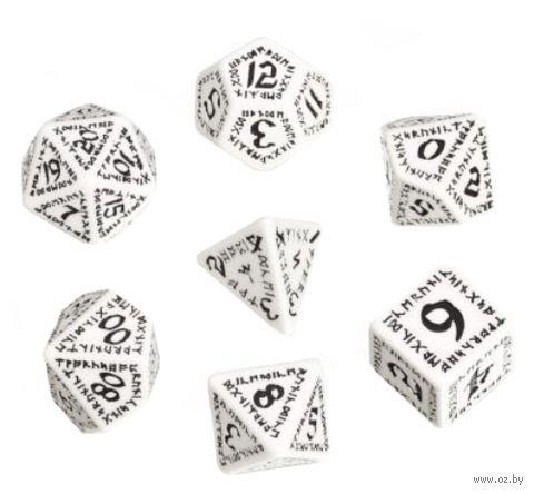 """Набор кубиков """"Рунический"""" (7 шт.; бело-черный) — фото, картинка"""