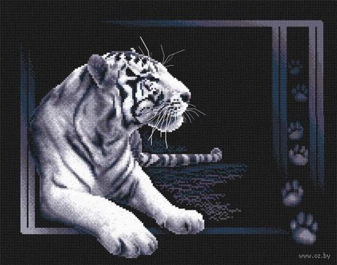 "Вышивка крестом ""Белый тигр"" (400x320 мм) — фото, картинка"