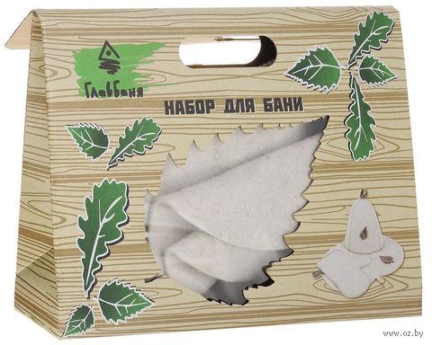 """Подарочный набор для сауны """"Шапка, рукавица, коврик"""" (белый) — фото, картинка"""
