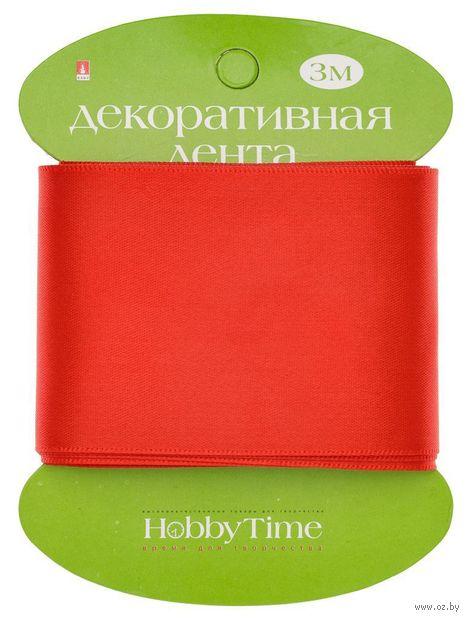 """Лента атласная """"Hobby Time"""" (красная; 50 мм; 3 м) — фото, картинка"""