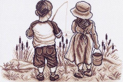 "Канва с нанесенным рисунком ""Рыбаки"""