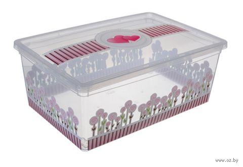 """Ящик для хранения с крышкой """"Цветы"""" (34х19х12 см) — фото, картинка"""