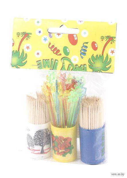 Набор зубочисток деревянных (2 шт. по 120 шт) + набор шпажек пластмассовых (30 шт) в пластиковых подставках